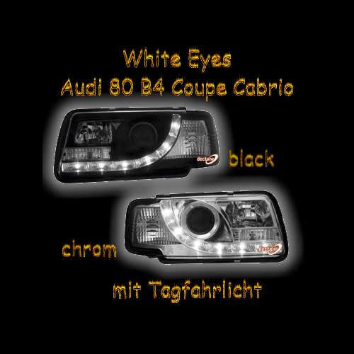 white eyes scheinwerfer audi 80 b4 coupe cabrio s2 rs2 ebay. Black Bedroom Furniture Sets. Home Design Ideas