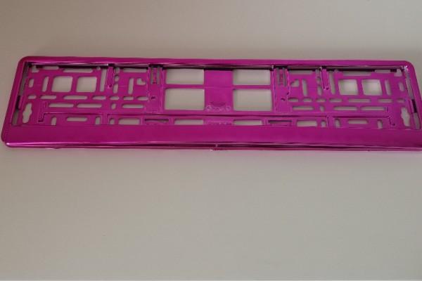 Intense Hochglanz Chrom Kennzeichenhalter Nummernschildhalter Pink Metallisiert