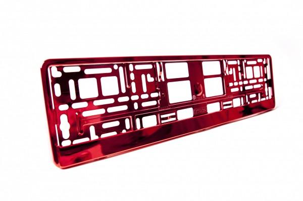 Intense Hochglanz Chrom Kennzeichenhalter Nummernschildhalter Rot Metallisiert